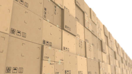 Cardboard boxes stacks. Warehouse logistics, recycled packaging or delivery concepts. 3d rendering