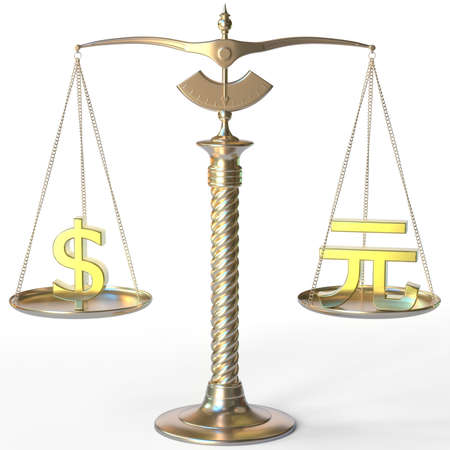 Dollar USD symbol and Renminbi yuan sign on golden balance scales, forex parity conceptual 3d rendering