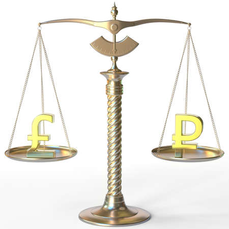 Pound sterling GBP symbol and Ruble sign on golden balance scales, forex parity conceptual 3d rendering