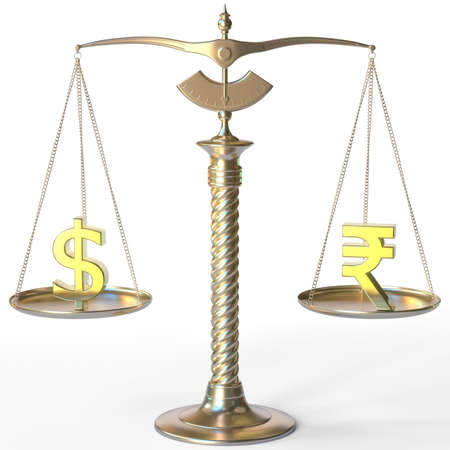 Dollar USD symbol and Rupee sign on golden balance scales, forex parity conceptual 3d rendering