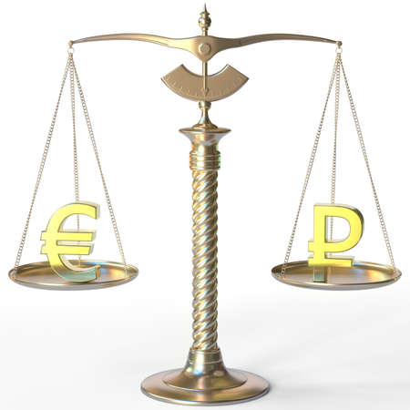 Euro EUR symbol and Ruble sign on golden balance scales, forex parity conceptual 3d rendering