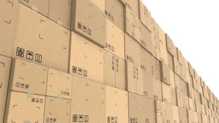 Row of cartons with goods ready for dispatch, 3d rendering