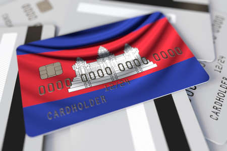 Credit card with flag of Cambodia 3d rendering Stok Fotoğraf