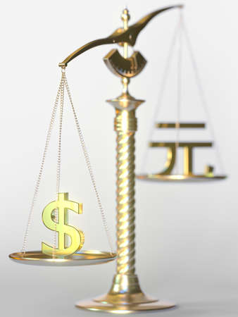 Dollar USD weighs more than Renminbi yuan on balance scales. Forex trend concept. 3d rendering