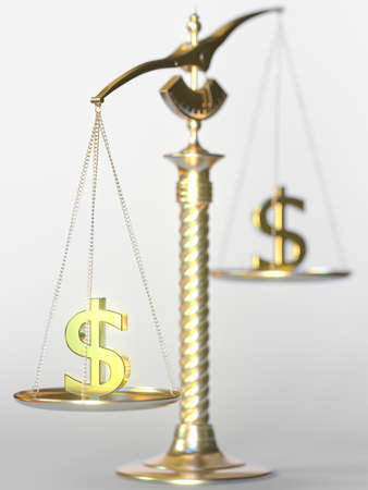 Dollar USD weighs more than another Dollar on balance scales. Forex trend concept. 3d rendering