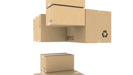 Many cartons, 3d rendering. Logistics, recycled packaging or delivery concepts Stock fotó