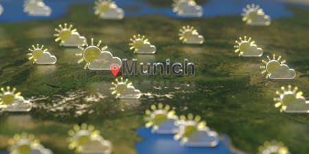 Partly cloudy weather icons near Munich city on the map, weather forecast related 3D rendering