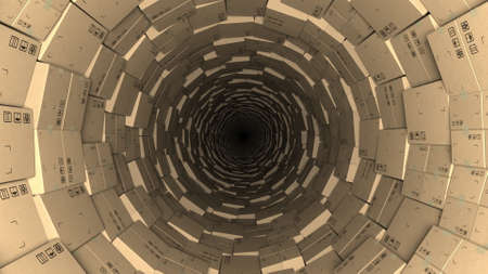 Tunnel made with cartons, 3d rendering