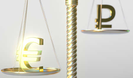 Euro EUR sign weighs more than Ruble symbol on golden balance scales, conceptual 3d rendering