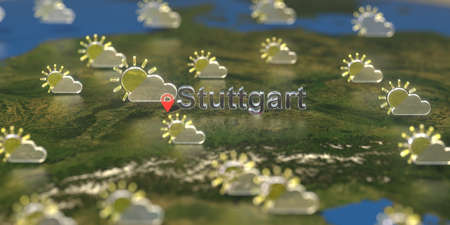 Partly cloudy weather icons near Stuttgart city on the map, weather forecast related 3D rendering