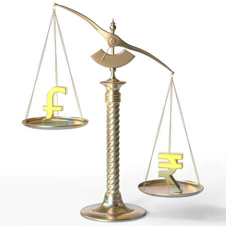 Pound sterling GBP sign weighs less than Rupee symbol on golden balance scales, 3d rendering