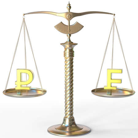 Ruble RUB symbol and Swiss franc sign on golden balance scales, forex parity conceptual 3d rendering