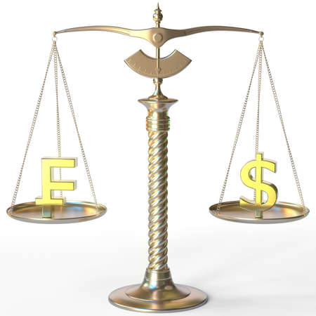 Swiss franc CHF symbol and Dollar sign on golden balance scales, forex parity conceptual 3d rendering