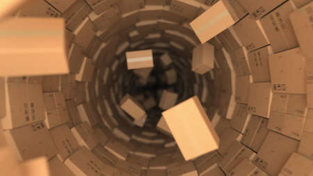 Tunnel made with cardboard boxes and many flying parcels, 3d rendering. Forwarding concept