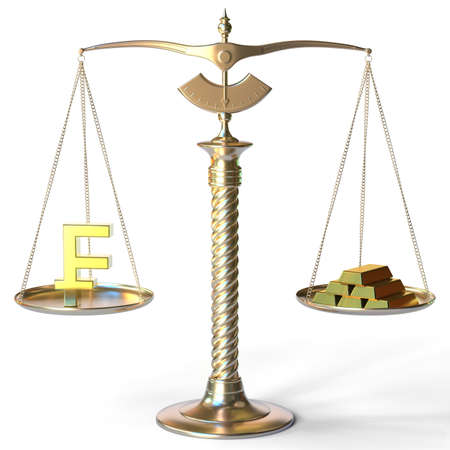 Swiss franc symbol weighs the same as gold bars on balance scales. 3d rendering