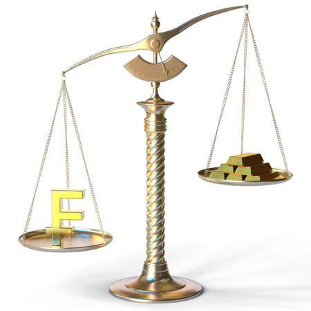 Swiss franc symbol weighs more than gold bars on balance scales. 3d rendering