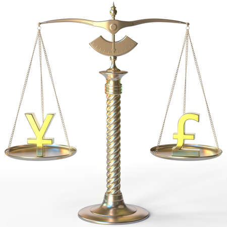 Yen JPY symbol and Pound sterling sign on golden balance scales, forex parity conceptual 3d rendering