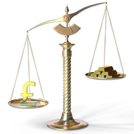 Pound sterling symbol weighs more than gold bars on balance scales. 3d rendering