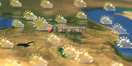 Partly cloudy weather icons near Yerevan city on the map, weather forecast related 3D rendering