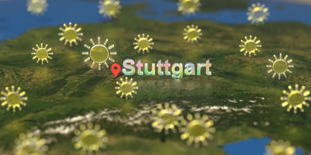 Sunny weather icons near Stuttgart city on the map, weather forecast related 3D rendering Stock Photo