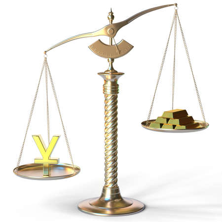 Yen symbol weighs more than gold bars on balance scales. 3d rendering