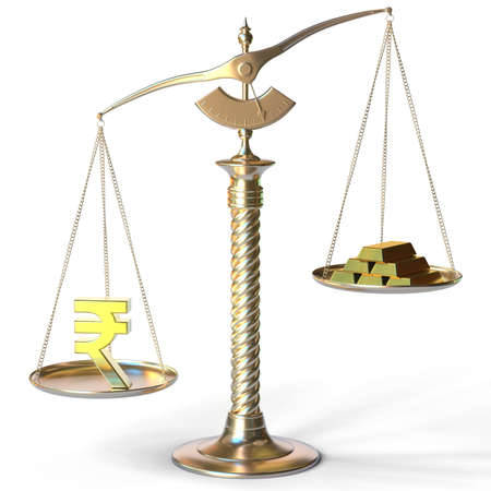 Rupee symbol weighs more than gold bars on balance scales. 3d rendering