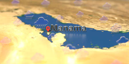 Manama city and rainy weather icon on the map, weather forecast related 3D rendering