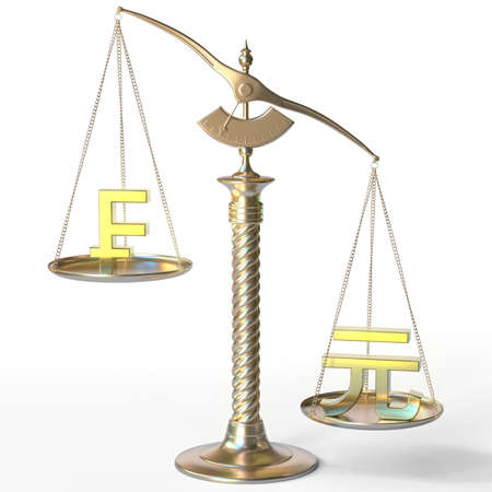 Swiss franc CHF sign weighs less than Renminbi yuan symbol on golden balance scales, 3d rendering