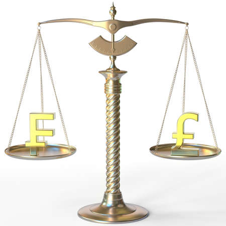 Swiss franc CHF symbol and Pound sterling sign on golden balance scales, forex parity conceptual 3d rendering