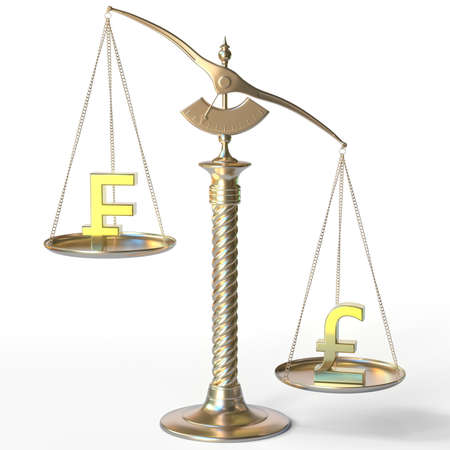 Swiss franc CHF sign weighs less than Pound sterling symbol on golden balance scales, 3d rendering