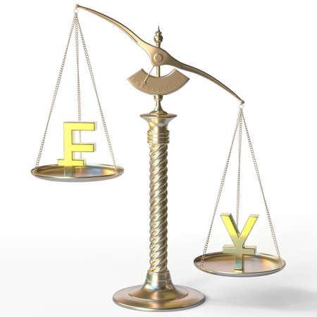 Swiss franc CHF sign weighs less than Yen symbol on golden balance scales, 3d rendering