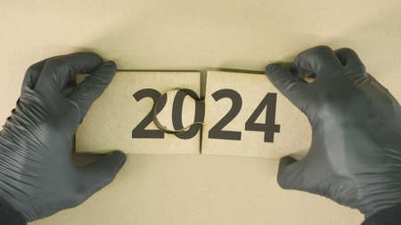 2024 text on cardboard jigsaw puzzle pieces