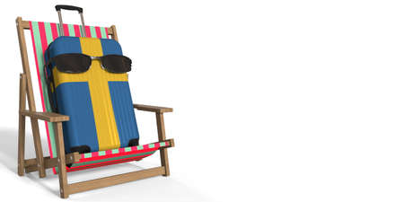 Flag of Sweden on suitcase and beach chair. Travel concept, 3d rendering