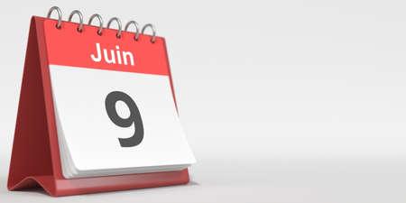 June 9 date written in French on the flip calendar page, 3d rendering Stock fotó