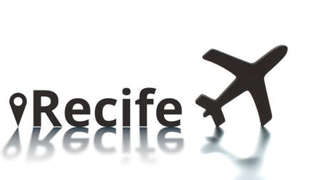 Recife text, geotag and airplane silhouette. Travel concept