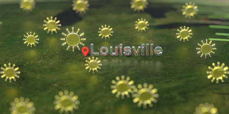 Sunny weather icons near Louisville city on the map, weather forecast related 3D rendering