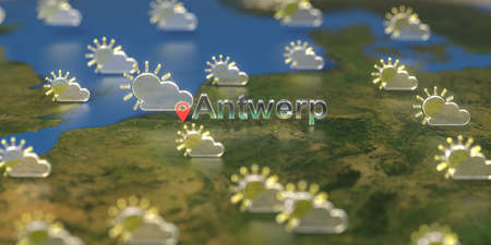 Partly cloudy weather icons near Antwerp city on the map, weather forecast related 3D rendering 스톡 콘텐츠