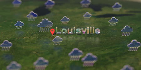 Rainy weather icons near Louisville city on the map, weather forecast related 3D rendering