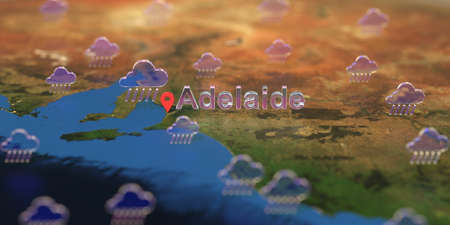 Adelaide city and rainy weather icon on the map, weather forecast related 3D rendering Stock fotó