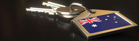 Flag of Australia on the keychain with two keys. House rental or residence concepts, 3d rendering