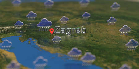 Rainy weather icons near Zagreb city on the map, weather forecast related 3D rendering