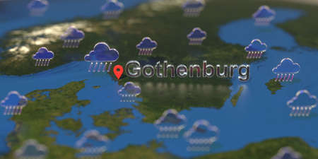 Rainy weather icons near Gothenburg city on the map, weather forecast related 3D rendering