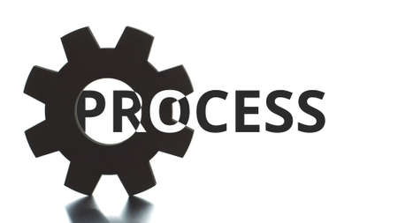 PROCESS black and white text pops up from the cogwheel