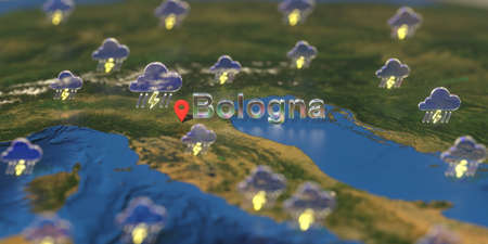 Bologna city and stormy weather icon on the map, weather forecast related 3D rendering