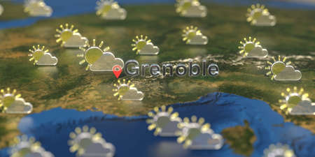 Grenoble city and partly cloudy weather icon on the map, weather forecast related 3D rendering 스톡 콘텐츠