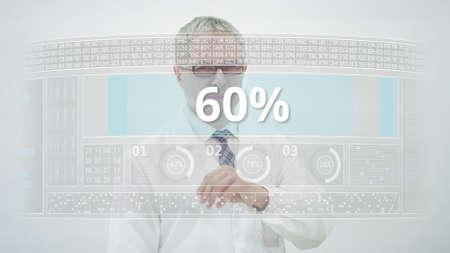 Engineer counts down to 60 percent on a modern computer screen Reklamní fotografie