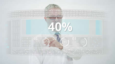 Scientist counts down to 40 percent on a computer screen