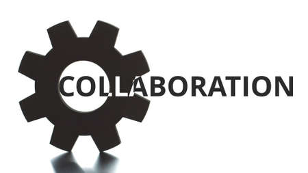 COLLABORATION text pops up from the cogwheel silhouette