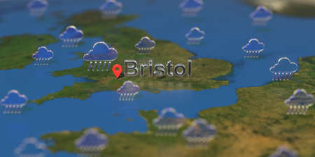 Rainy weather icons near Bristol city on the map, weather forecast related 3D rendering