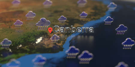 Rainy weather icons near Canberra city on the map, weather forecast related 3D rendering